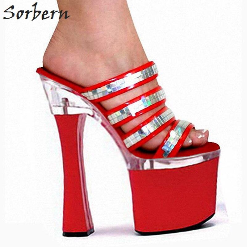 Sorbern Fashion Slippers Women Outdoor Slides Open Toe Women Shoes Slipper Runway Shoes 18Cm Ultra High Heels Platform Slides