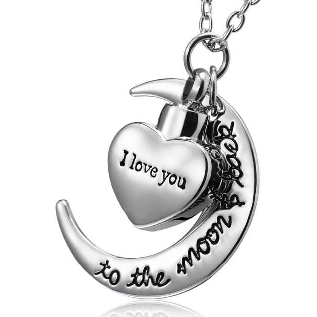 I love you to the moon and back urn necklace for ashes memorial i love you to the moon and back urn necklace for ashes memorial keepsake cremation pendant mozeypictures Choice Image