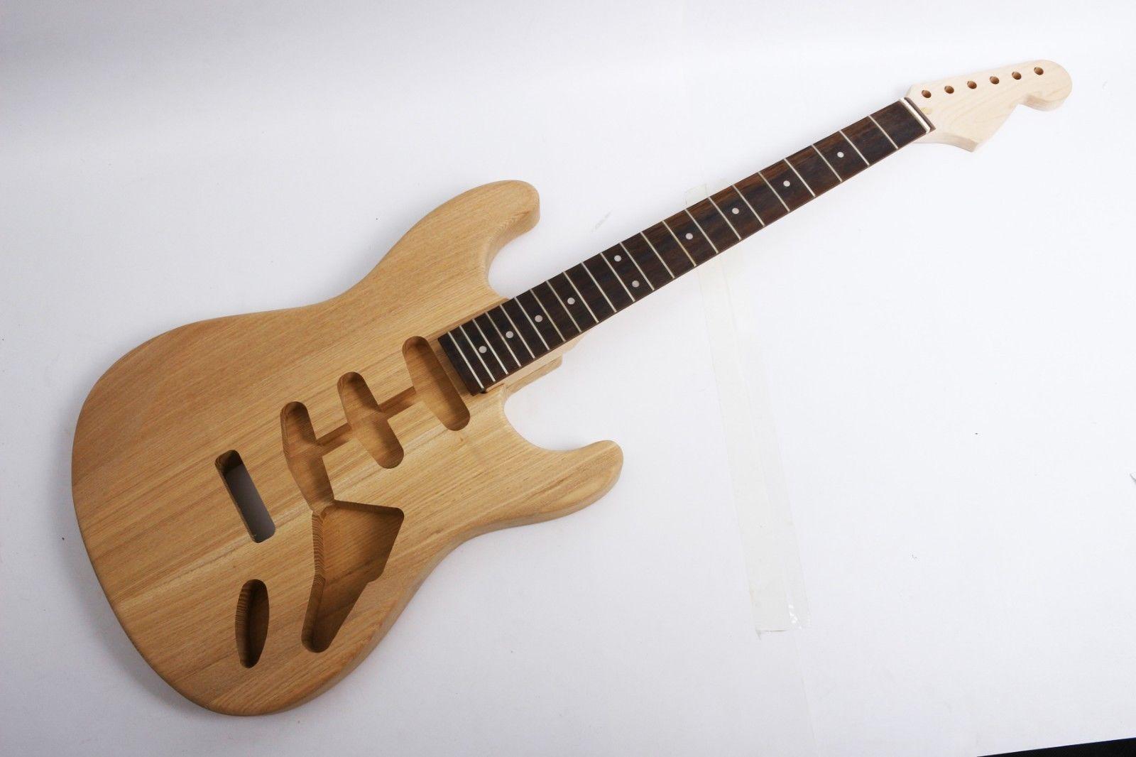 Un ensemble Électrique Guitare Kit Unfinished CENDRES D'érable Guitare Cou Corps de remplacement, guitare pièces