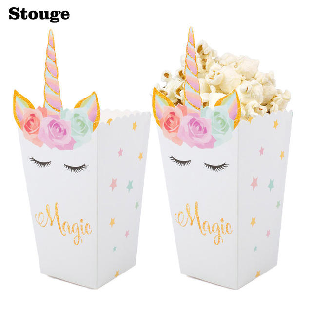 Stouge 6pcs Unicorn Party Popcorn Boxes Diy Folding Candy Birthday Party Decoration Christmas Treat Bags Popcorn
