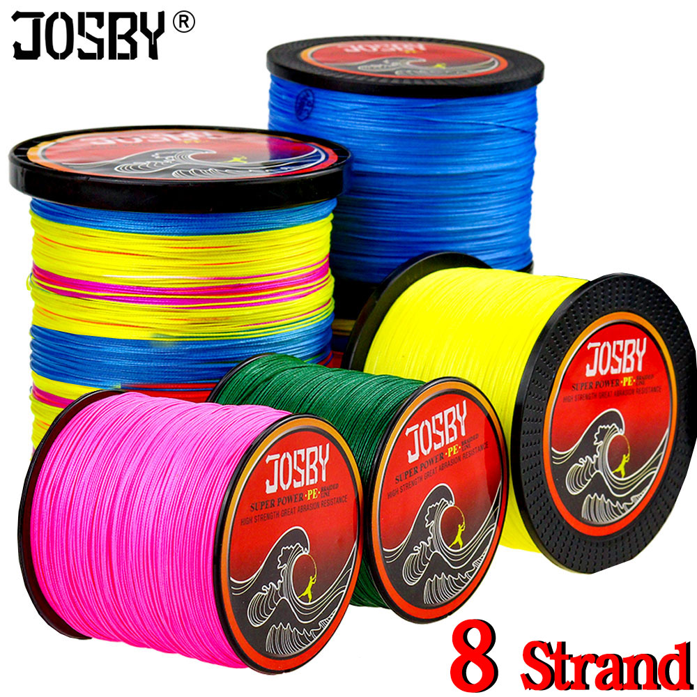 JOSBY 300M 500M 1000M 4 Strands 8 Strands Multicolour PE Braided Wire Multifilament Super Strong Fishing Line 2018 New