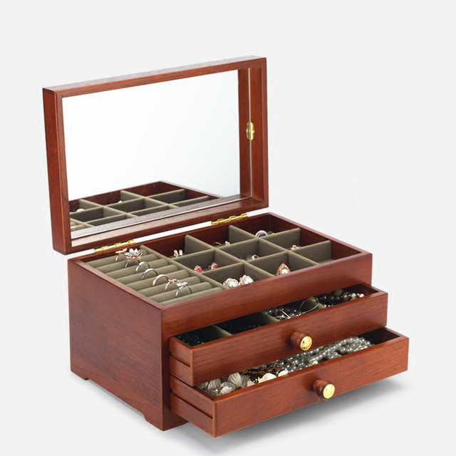 Retro 3 layers wooden jewellery box Toon Simpe large capacity Log jewel case with Watch collection & Retro 3 layers wooden jewellery box Toon Simpe large capacity Log ...