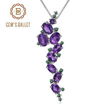 GEMS BALLET 925 Sterling Sliver 4.89Ct Natural Amethyst Vintage Gothic Punk Pendant Necklace For Women Gemstone Party Jewelry