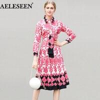 European Boho Vestidos Women 2018 Spring New Long Sleeve Luxury Flower Print Pleated Mid Calf Lapel
