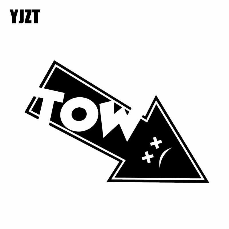 YJZT 12.9CM*8.6CM Tow Hook Arrow Vinyl Decal Car Sticker Track Drag Drift Race Black Silver C10-02248
