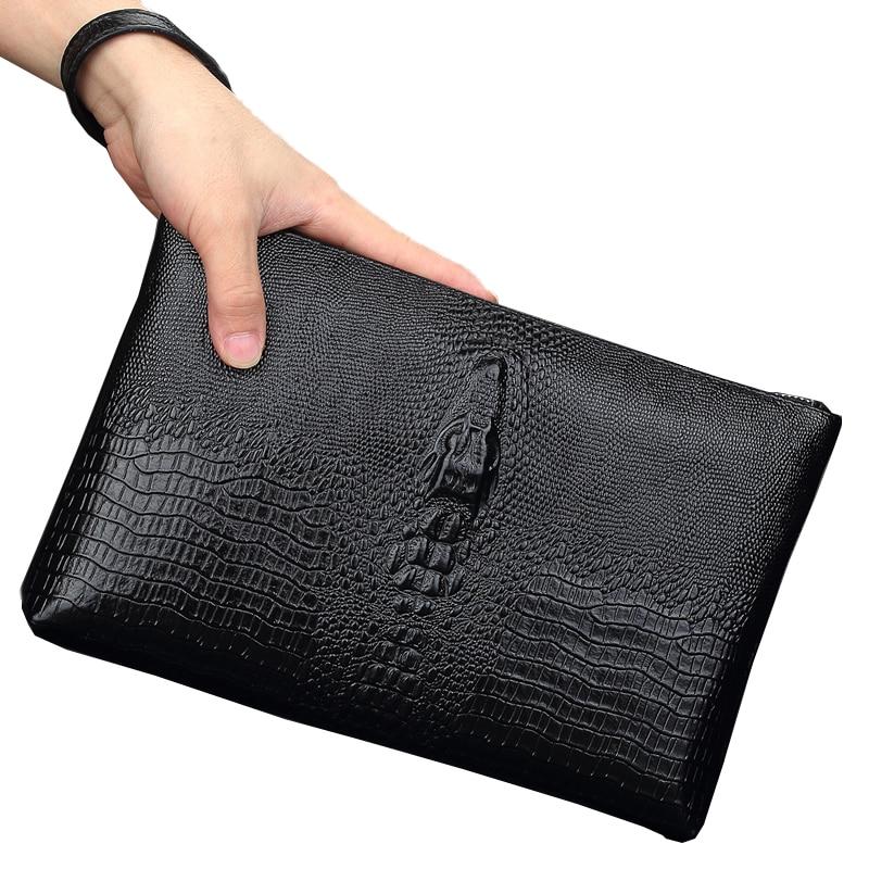 Wmnuo īstas ādas vīriešu soma rokassomas krokodila graudu korejiešu izdevuma diena sajūgi lielas jaudas mīkstas govs ādas ādas aploksne