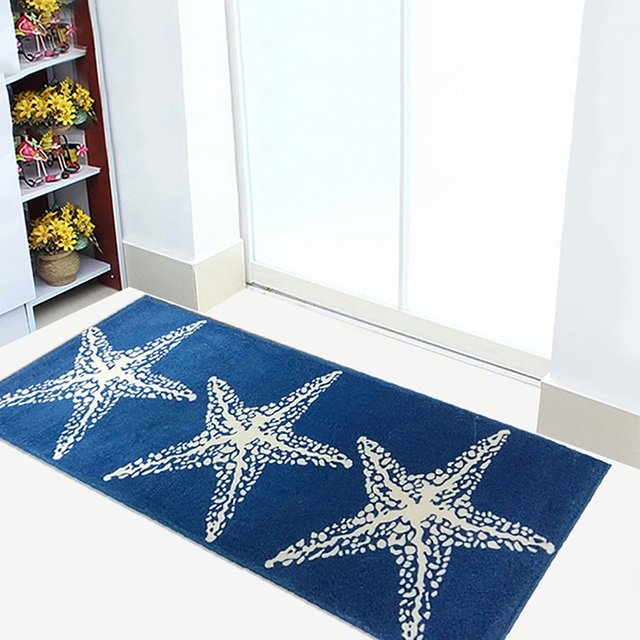 Blue Star Bath Mat For Bathroom Rug Carpet In The Bathroom And Toilet Anti Slipping Water Absorbing Comfortable Area Rug Flannel
