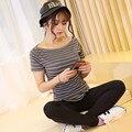Корея harajuku плюс размер M-XXL женщины футболки slash шеи полосатый коротким рукавом рубашки вскользь 2016 новые женщины топы Бесплатно доставка