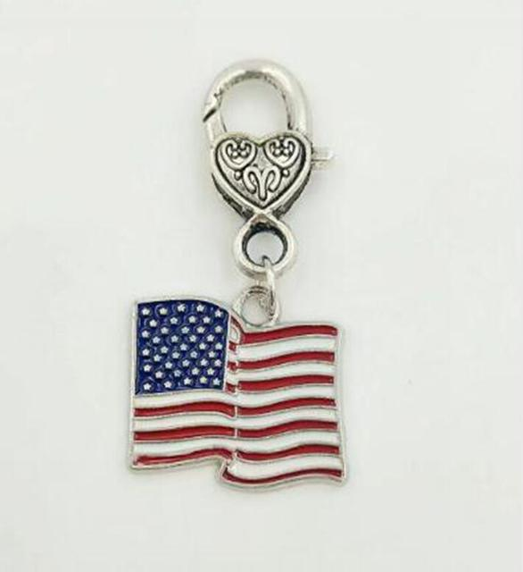 enamel american flag lobster clasp keychain for keys car key ring