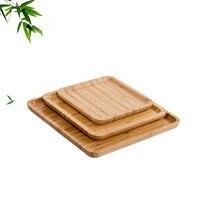 Бамбуковая квадратная форма кастрюля тарелка фруктовое блюдо, тарелка чайный лоток десертный ужин хлебное блюдо