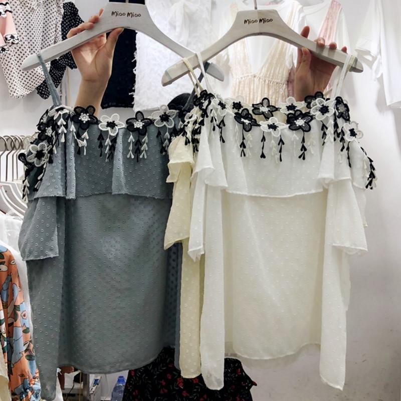 Apliques coreanos volantes florales mujeres camisas blancas 2018 - Ropa de mujer