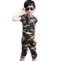 Moda Chłopiec T Shirt + Spodenki Zestaw Kamuflażu Armii Lato Dzieci Odzież Chłopcy Garnitur Dorywczo Ubrania Dla Dzieci Maluch Dziecko Dres