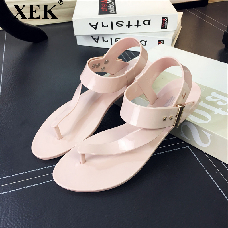 XEK Women Sandals 2018 Summer Women Flat Sandals Decor Women Beach Jelly Shoes Non-slip Flip Flops Holiday Beach Slippers JH231 women slippers summer beach shoes rivets flip flops women slippers sexy platform sandals women s non slip shoes plus size 36 42