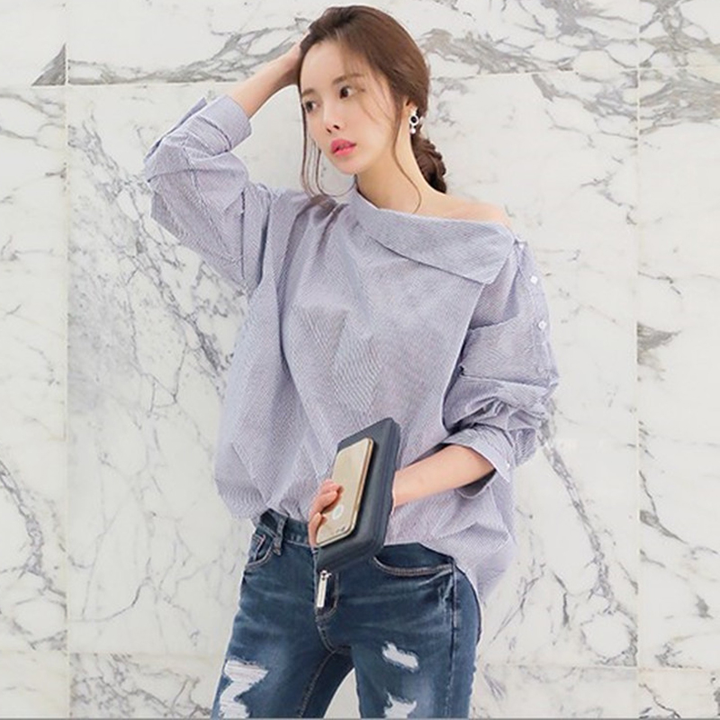 Striped Sexy Plus Size Shirt Women tops and Blouses Strapless Loose chemise Long Sleeve Slash Neck blouse female Casual tunic
