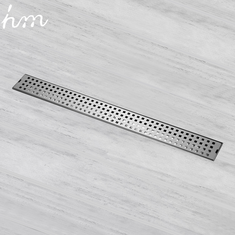 hm Anti-odor Bathtub Shower Drainer Strainer 60cm 304 Stainless Steel Gravity Flushing Deodorization Type Square Floor Drain