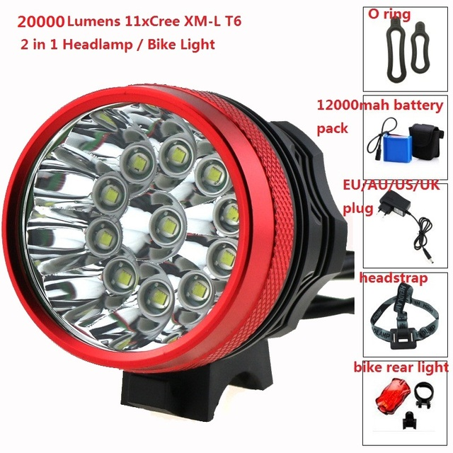2 in 1 Bike Front Headlight 20000 Lumen 11xCree XM-L T6 LED Bicycle Light Cycling HeadLamp + 18650 12000mah Battery Pack+Charger