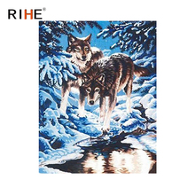 RIHE Snow Wolf Diy Painting By Numbers Winter Forest Oil On Canvas Hand Painted Animal Cuadros Decoracion Acrylic Paint