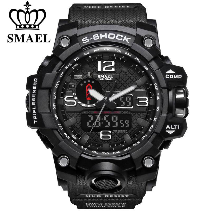 New Style Chronograph Sports Military Watches Shock Luxury Brand SMAEL Analog Quartz Dual Display Men s