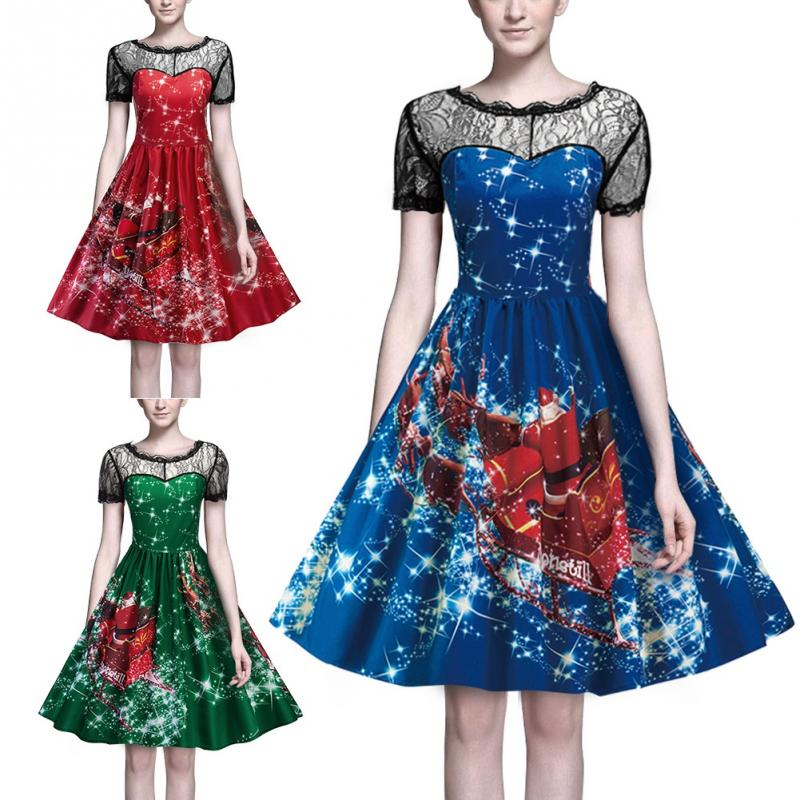 8a84ba04fc Women Hollow Lace Collar Printed Pattern Round Neckline Christmas Swing  Flared Midi Dress