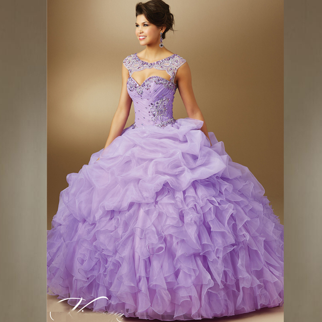 a391db46965b Beautiful Ruffled Organza Ball Gowns Prom Dress Light Purple Quinceanera  Dresses With Removable Jeweled Keyhole Coverlet 2015