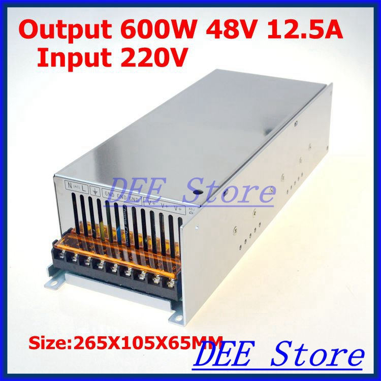 Led driver 600W 48V(0V- 52.8V) 12.5A Single Output ac 220v to dc 48v Switching power supply unit for LED Strip light allishop 300w 48v 6 25a single output ac 110v 220v to dc 48v switching power supply unit for led strip light free shipping
