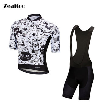 Zealtoo black white cat Short Sleeve Cycling Jersey sets MTB Bike Cycling Clothing Ropa Maillot Ciclismo Racing Bicycle Clothes