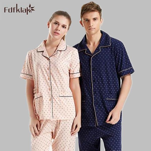 Cotton   pajamas     set   plus size pyjamas women or men pijama short sleeve spring summer tracksuit pijamas mujer M-3XL Q962