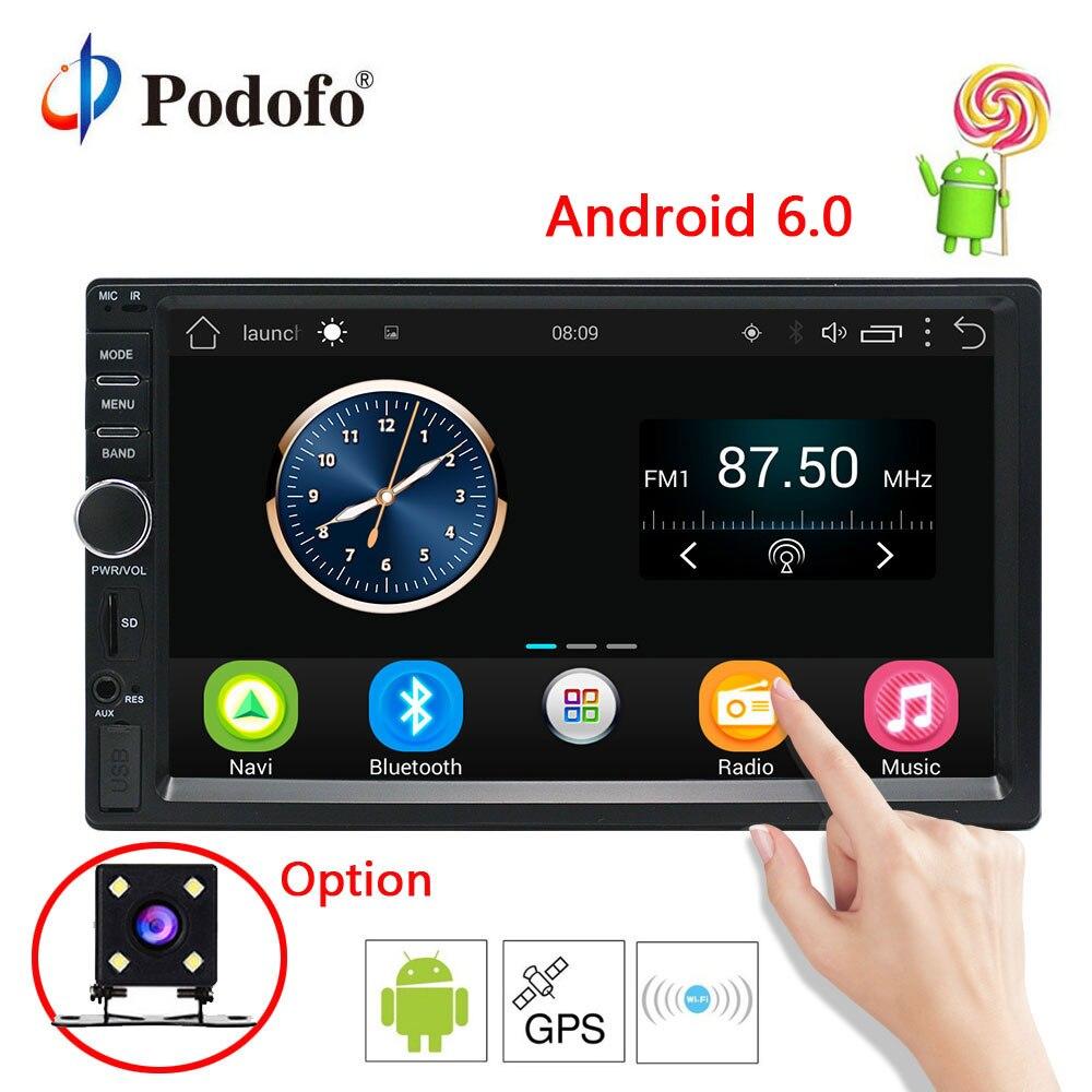 Podofo 7 ''Android 6.0 Voiture Radio Stéréo GPS Navigation Bluetooth 2 Din Écran Tactile Voiture Lecteur Audio Autoradio USB SD FM Lecteur