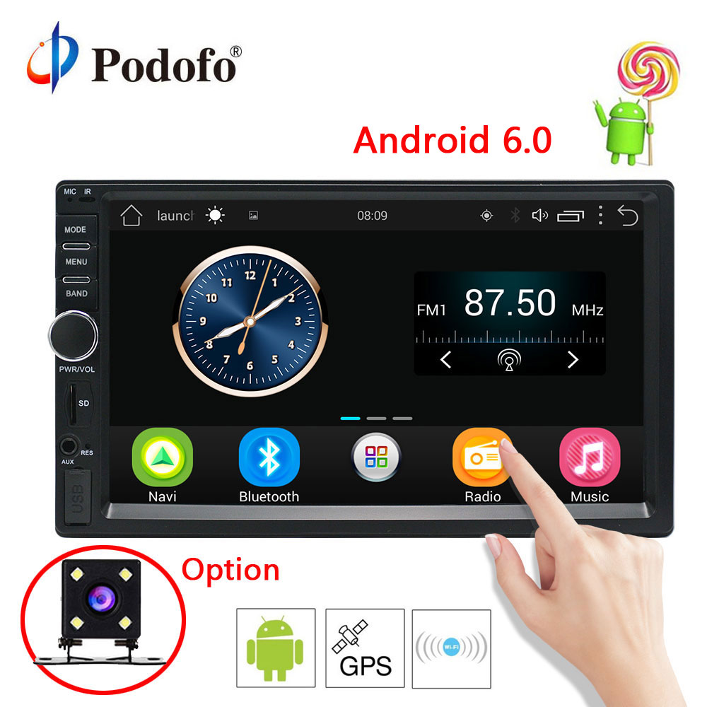 Podofo 7'' Android 6.0 Car Radio Stereo GPS Navigation Bluetooth 2 Din Touch Screen Car Audio Player Autoradio USB SD FM Player