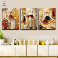 Coloring paints by numbers Three Ballet Girls Abstract Figure pictures paintings by numbers with colors 3 Panels for hoom decor