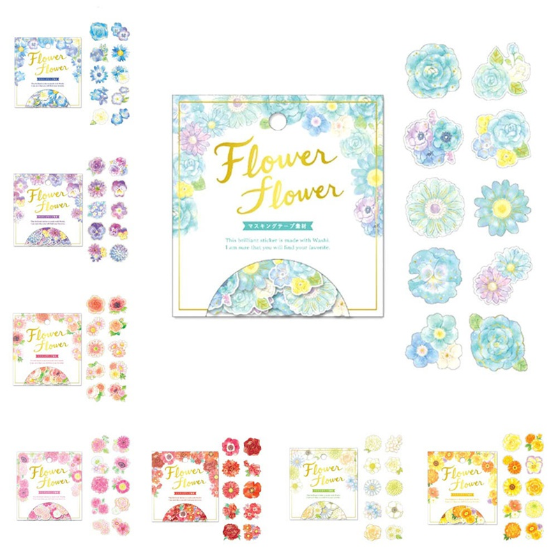 40PCS/PACK Diary Stationery Album Stickers Japanese Style Golding Flowers Decorative Washi Stickers Scrapbooking Stick Label(China)
