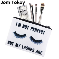 Jom Tokoy Lashes white 3D Printing simple makeup bag neceser Cosmetic case women trousse de maquillage organizer pencil case
