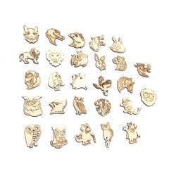 25 шт. Смешанное деревянное животное DIY Украшение натуральный узор деревянные поделки ручной работы Скрапбукинг для украшения дома