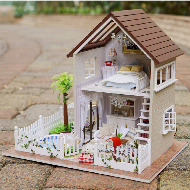 3D Assembling DIY Miniature Wooden Doll House Familily Model Toys Paris Apartment wooden dollhouse with Furniture DH12 d030 diy mini villa model large wooden doll house miniature furniture 3d wooden puzzle building model