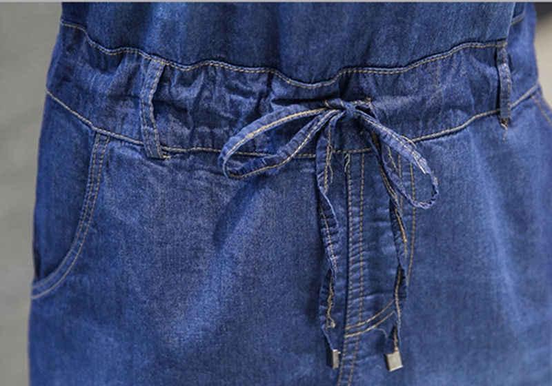 2017 Для женщин летние платья женские синий плюс Размеры v-образным вырезом без рукавов без бретелек платье из джинсовой ткани для Для женщин завязки тонкий длинное платье