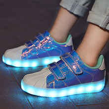 b01ad307a8e 2018 Nieuwe Blue kids Led USB opladen gloeiende Sneakers Kinderen haak loop  Mode lichtgevende schoenen voor meisjes jongens mann.