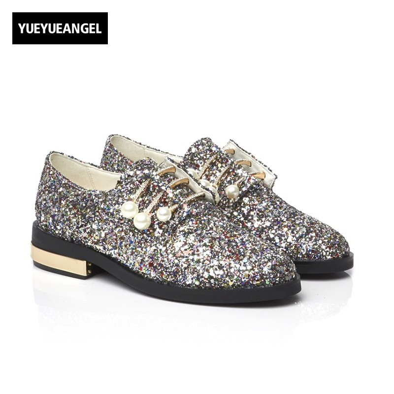 2018 New Fashion Hot Sequins Block Chunky Heel Pearl Vogue Shoes Woman Round Toe Genuine Leather Blingbling Stage Sapatos Mulher womens high boots vogue side zipper botas invierno mujer fashion buckle block chunky heel sapatos mulher suede size us 4 10 5