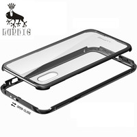 LUPHIE Luxury Aluminum Metal Bumper For IPhone 8 With Anti Knock Tempered Glass Back Cover Case