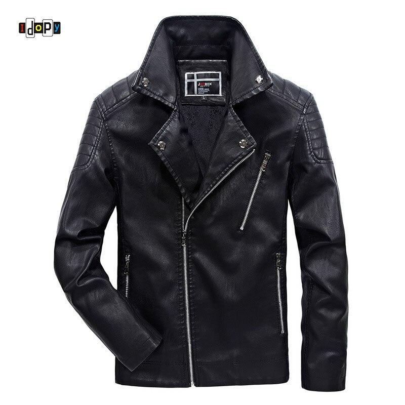 Vestes motardes en simili cuir Idopy pour hommes veste et manteau en cuir d'hiver moto PU doublé polaire à glissière irrégulière pour hommes