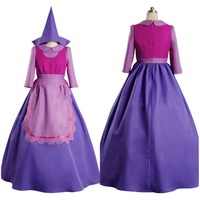 Hot Anime Sleeping Beauty Cinderella Mouse Suzy Purple Long Dress Adult Cosplay Costume