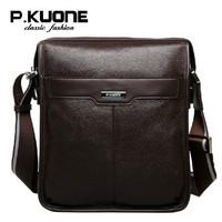 P KUONE New Casual Cowhide Genuine Leather Men Messenger Bag Man Fashion Handbag Shoulder Bag For
