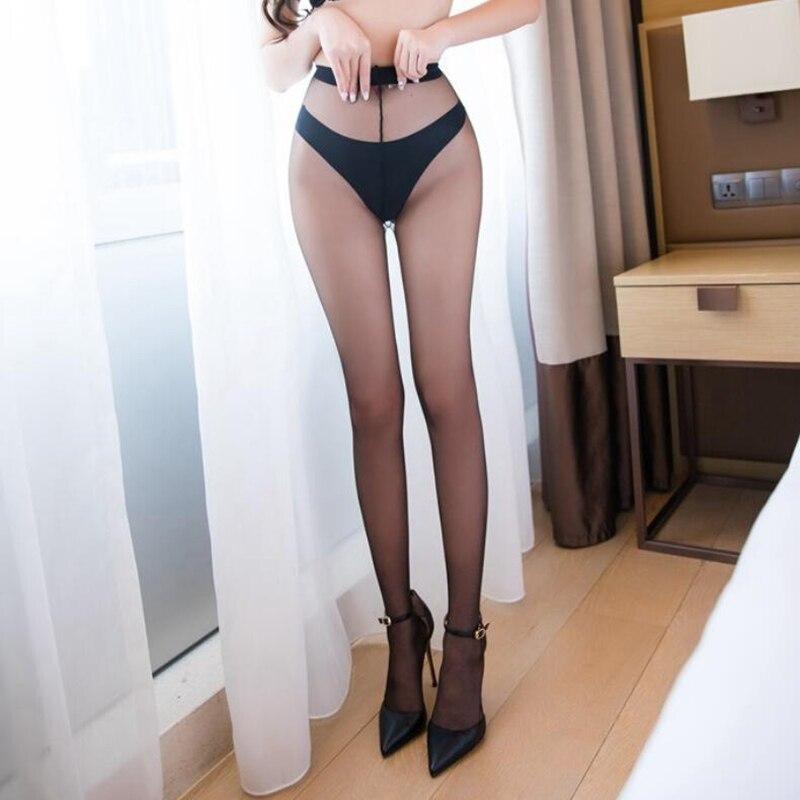 여성의 섹시한 투명 스타킹 0d 울트라 얇은 나일론 팬티 스타킹을 통해 볼 1 라인 가랑이 보이지 않는 스타킹 높은 허리 medias