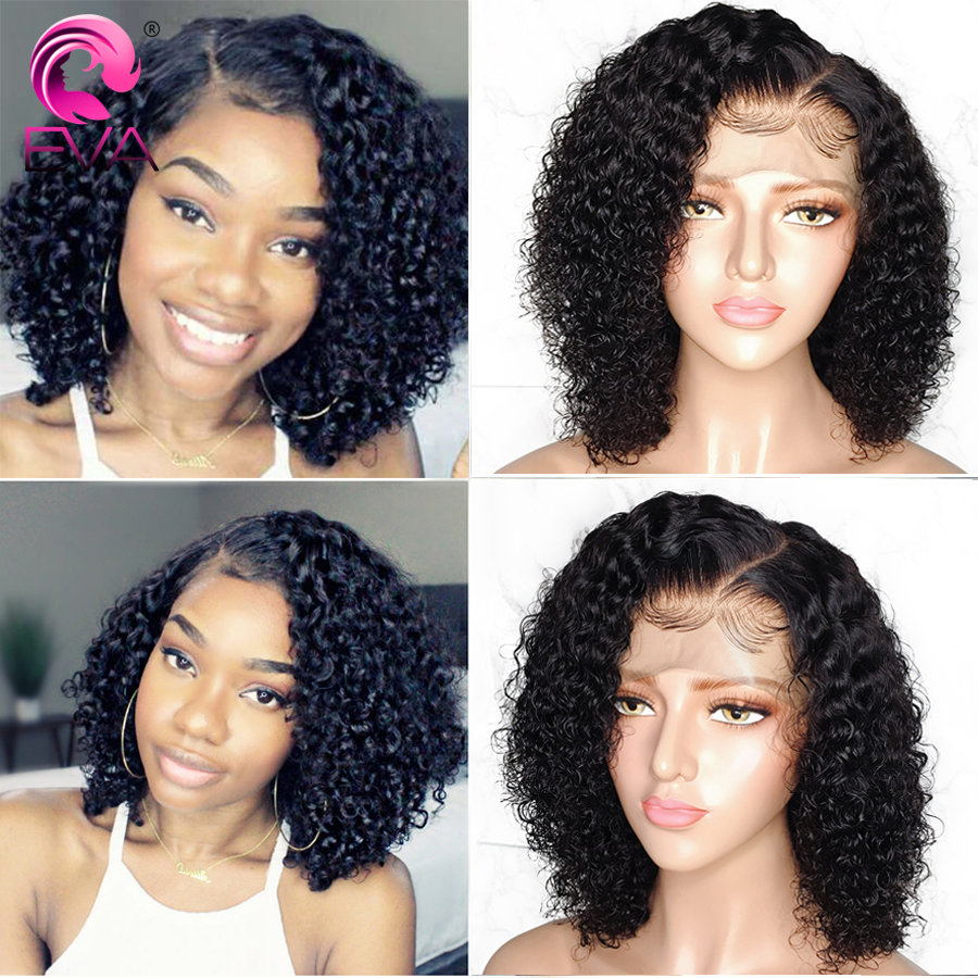 Eva Short 13x6 Lace Front Human Hair Wigs Pre Plucked With Baby Hair Brazilian Remy Curly
