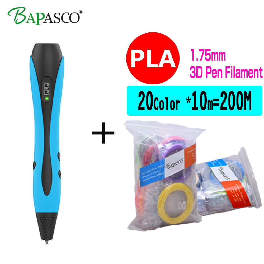 BAPASCO 3D Pens/3D Graffiti Pen One-key Operation 3D Printing Pen+200M PLA Plastics Crafting Model Arts Tool For Kid Drawing