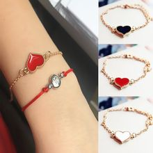 Romantic Red Heart Link Bracelets for Women Charm Fashion Simple Cute Korean Simple Girl Gift Jewelry Wholesale Bijoux(China)
