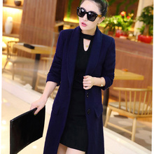Plus size clothing 2017 Spring Autumn Women's Wool Coat New Fashion Long Woolen Coat Single Breasted Slim Type Female bs53341