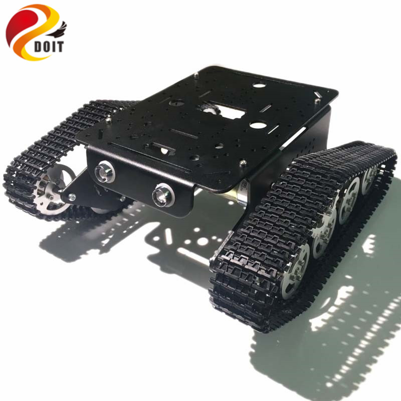 DOIT Tracked Tank Chassis Smart Robot Car Chassis with 12V 320RPM Motor Aluminum Alloy Frame/Chassis for Graduation Design DIY metal aluminum alloy robot tank chassis 37 motor strong power sk9