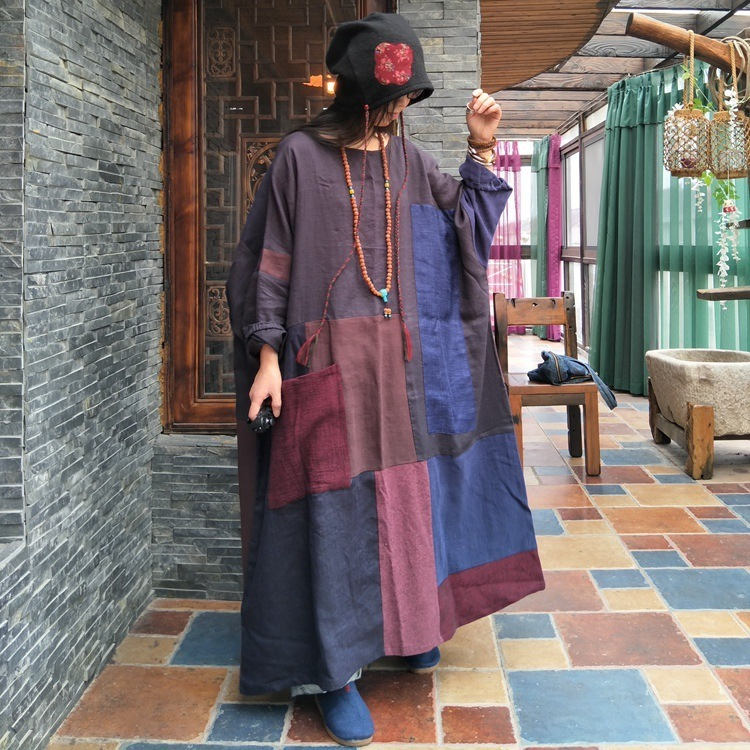 Femmes automne Pathwork coton lin Robe grande taille dames Bat Robe robes Vintage rétro lâche Robe 2019 épissé Robe lin