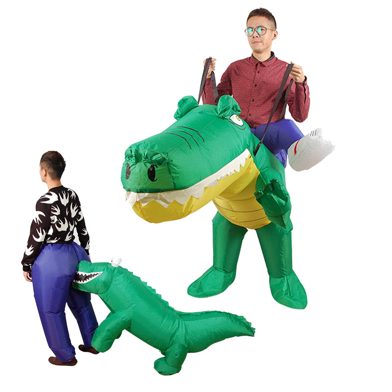 Halloween Inflatable Crocodile Bite Ass Cosplay Party False Costume Adults Party Ride on Animal Cosplay Costume For Women Men