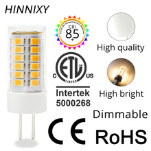 цена на Hinnixy 10PCS/lot Ceramic LED G4 Dimmable Bulb 1.5W 2.5W 3W AC/DC 12V Warm White Cold White Livingroom Light Bulb For Chandelier